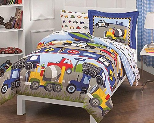 5 Piece Boys Trucks and Tractors Comforter Twin Set, All Over Police Car Construction Dump Truck Tractor Air Plane Blimp Scooter Bedding, Multi Road Sign Themed, Bright Vibrant Blue Yellow Red Green