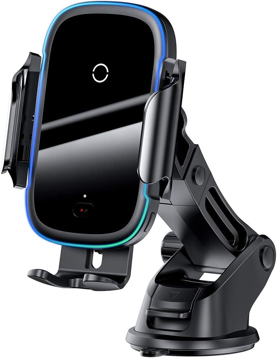 S9 Plus XS Noir XR Samsung Galaxy S10 XsMax Baseus Chargeur de voiture 2 en 1 pour tableau de bord et grille da/ération Qi 15 W Charge rapide Compatible avec iPhone 11 Pro