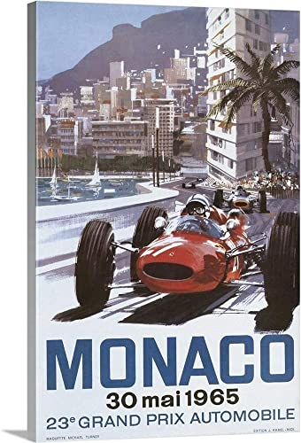 Monaco 1965 Vintage Advertising Poster Canvas Wall Art Print