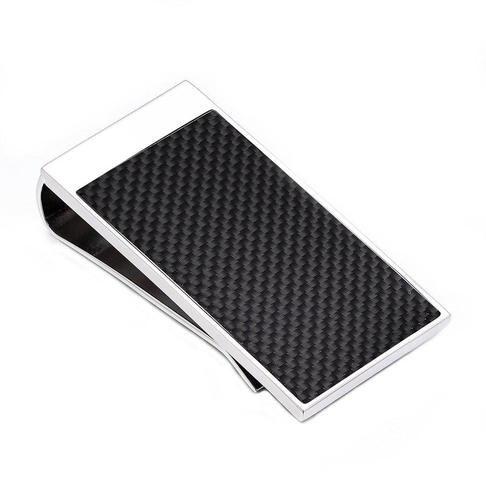 Merit Ocean Silver Stainless Steel Money Clip Carbon Fiber Money Clip Wallet Card Holder