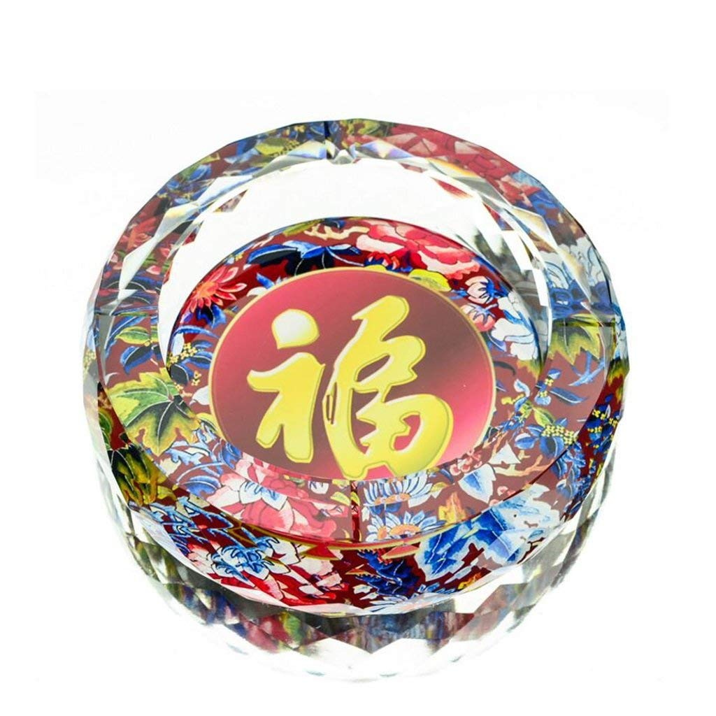 Huasen Home Ashtray Ashtray 3D Blessing Pattern Color Printing Style Round Crystal Glass Home Living Room Decoration Office Ashtray (Size : 25CM)