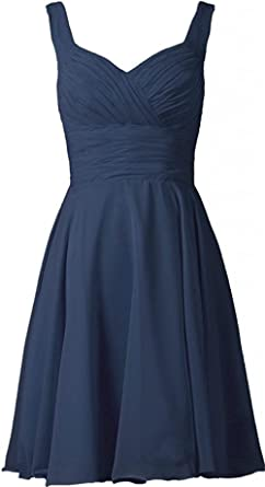 Ladsen Womens V-Neck Chiffon Bridesmaid Dresses Short Prom Gown L238 Navy Blue US16 Size
