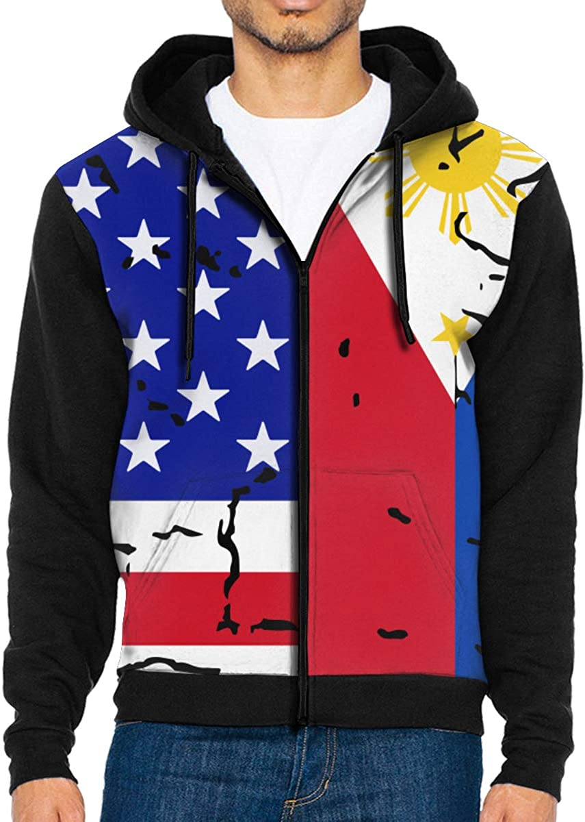 LMKJNGFD USA Philippines Flag Boys Adult Full Zip Hoodies Sweatshirts Sport Outwear Sweatshirts
