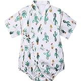ベビー ロンパース 甚平 浴衣 半袖 着物 カバーオール 女の子 ショートオール 夏 可愛い 子供服 綿100% 海のアンカーパターン (6-18ヶ月)