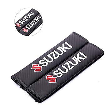 Ricamo Auto Cintura di Sicurezza Pad Spalla Cuscino per Suzuki fanlinxin 2PCS Carbon Fiber