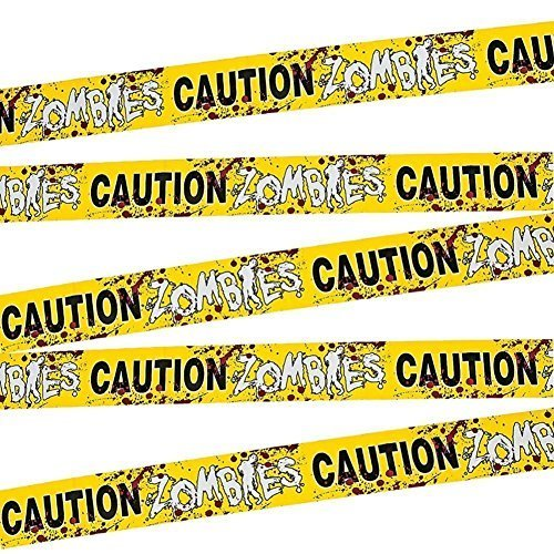 Fun Express - 1 Caution Zombies Party Tape Roll, (20 inches) (2-Pack) -