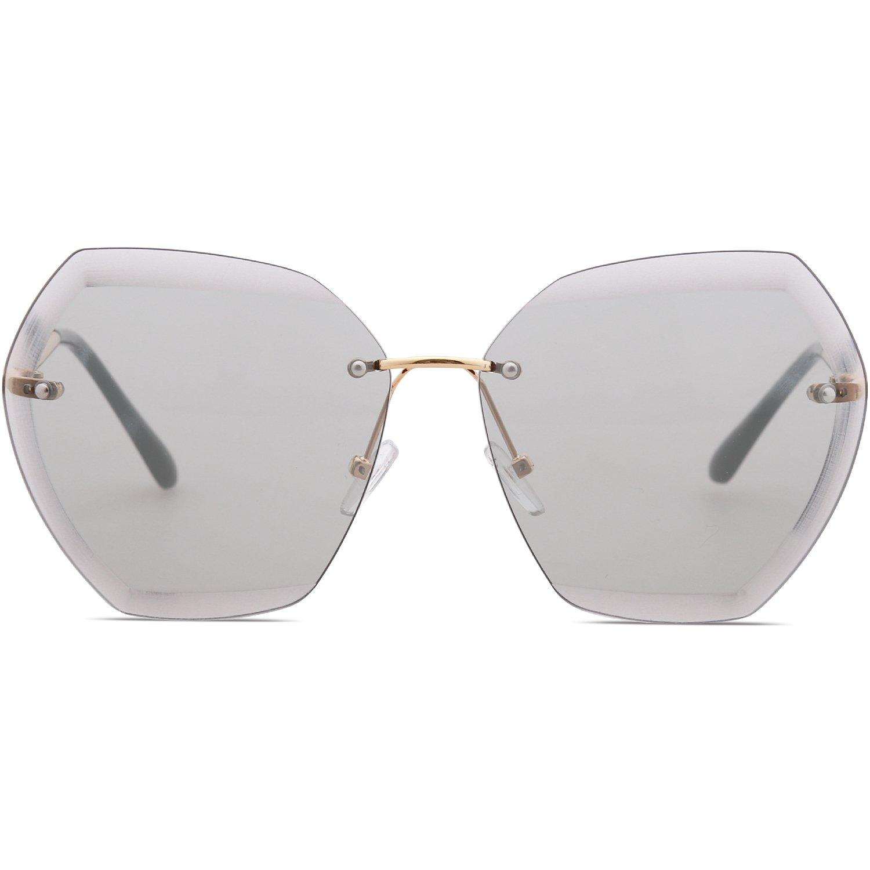 SOJOS Schick Polygon Sonnenbrille Damen Herren Groß SJ1073 mit Gold ...