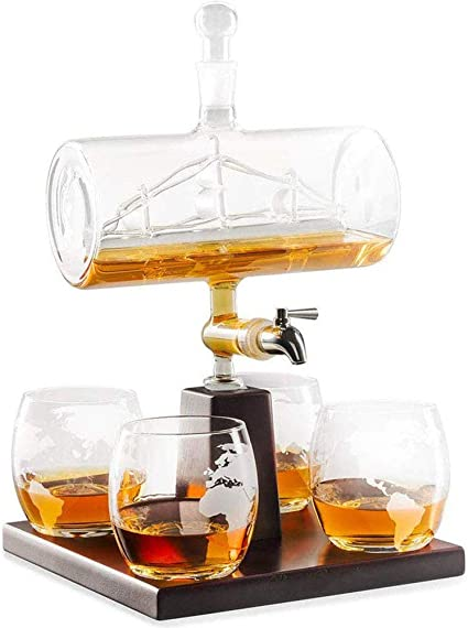 Whisky Decanter Set Dispensador De Licor Sin Plomo Exclusivo con 4 Vasos Soporte De Madera De Roble para Whisky EscocéS, Ron Y Alcohol
