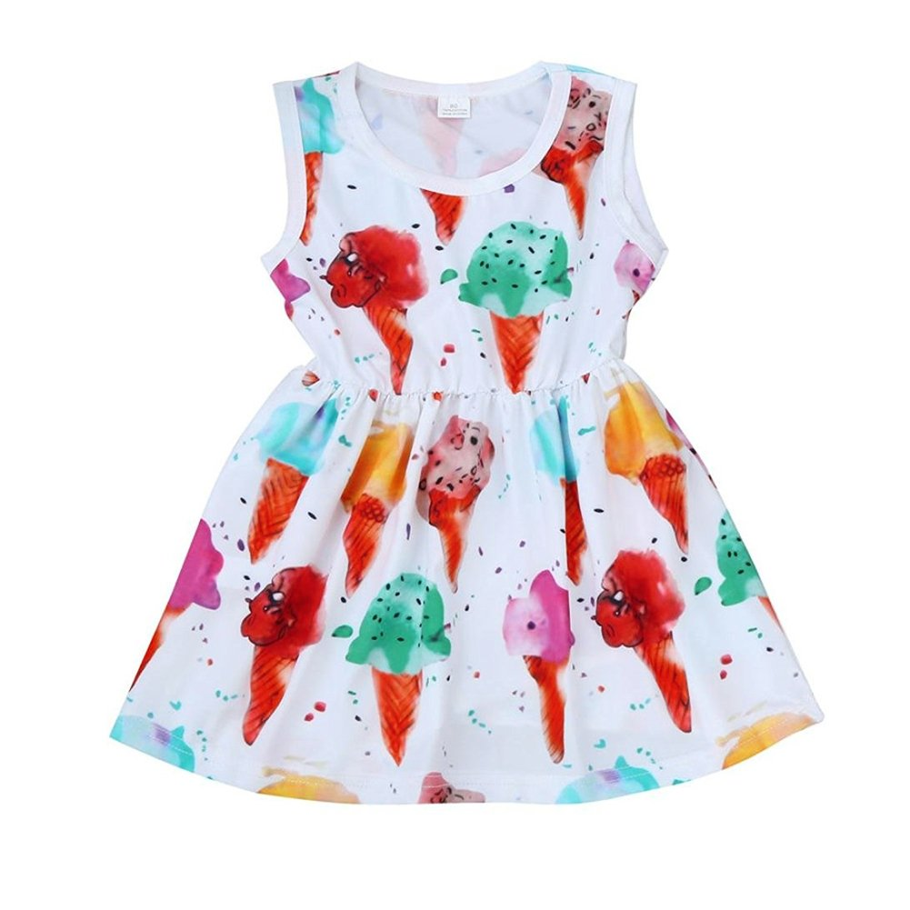 Mini honey Infant Toddle Baby Girl Kids Ice Cream Printed Sleeveless Dress Skirt Summer Outfit Clothes (6-12 Months, White) by Mini honey