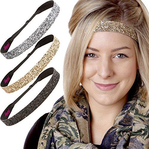 Hipsy Women's Adjustable No Slip Cute Fashion Headbands Bling Glitter Hairband Packs (3pk Black/Gold/Gunmetal Wide Bling -