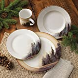 Misty Forest Cabin Dinnerware Set - 16 Pcs - Cabin Dining Tableware