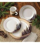 Black Forest Décor Misty Forest Cabin Dinnerware Set – Rustic Plates, Bowls, amp; Mugs, 16 Pcs