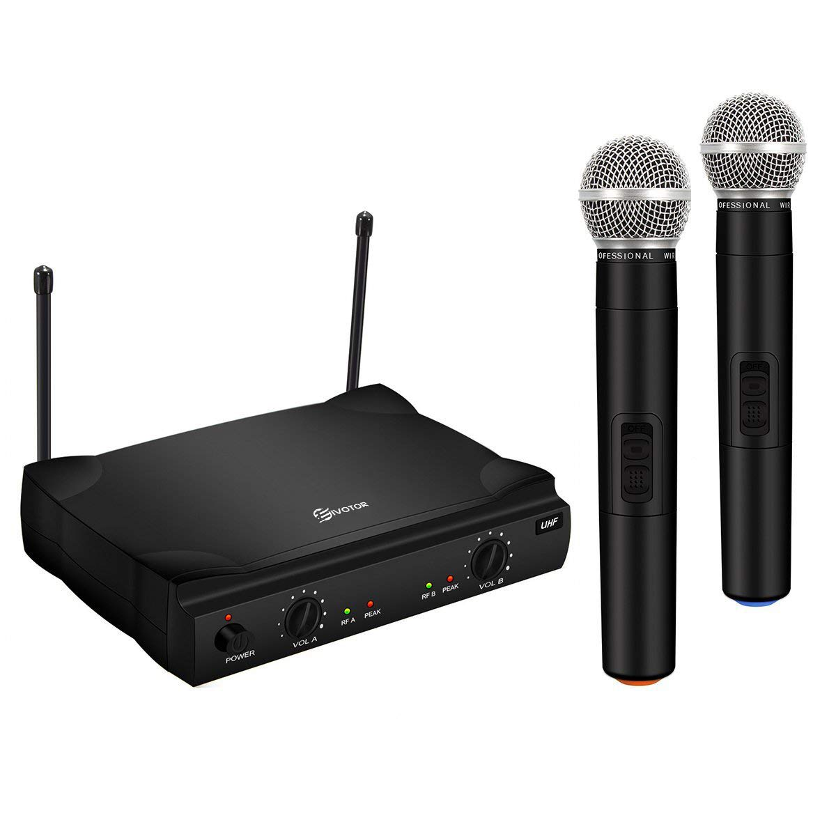 UHF Wireless Microphone System, EIVOTOR Dual Channel Handheld Wireless Microphone with Professional Karaoke Receiver and 2 Handheld Dynamic Mics Set, for Home Party, KTV, Meeting, Wedding, Church by EIVOTOR