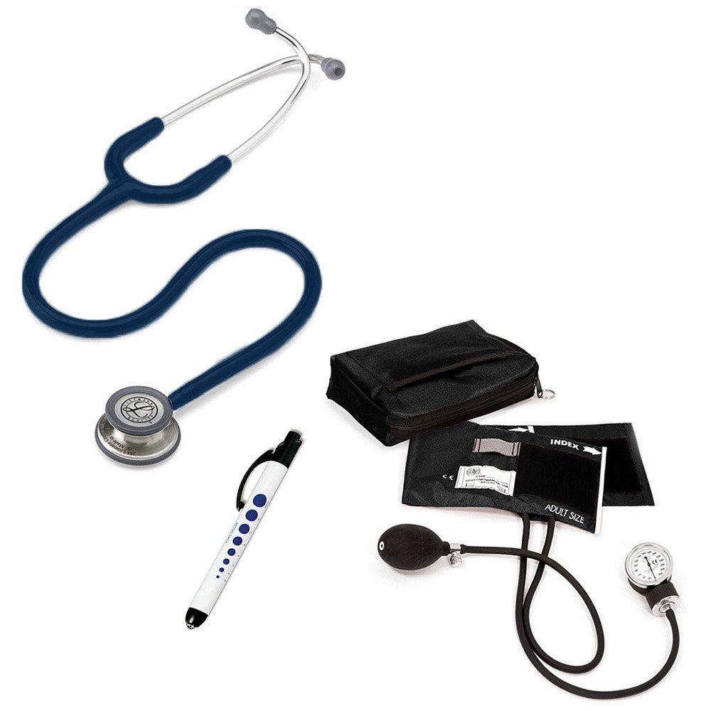 3M Littmann Classic Iii™ Prestige Medical Adult Sphygmomanometer With Case And Quick Lites Penlight Kit Navy