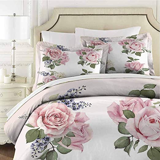 Amazon Com Rose Bedding Set Bedding Set Full 3 Pieces 1 Duvet Cover 2 Pillow Shams For Any Bed Room Or Guest Room Cal King 104x98 Inches Pink Green Home Kitchen