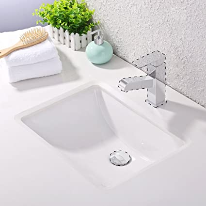 KES Bathroom Rectangular Porcelain Undermount Sink White Undercounter Sink  For Lavatory Vanity Cabinet Contemporary Style With