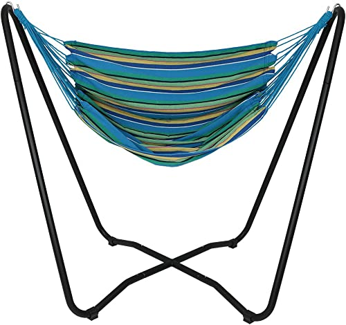 Sunnydaze Hanging Rope Hammock Chair Swing with Space-Saving Stand – Hanging Chair with Stand for Backyard Patio – 330-Pound Capacity – Ocean Breeze