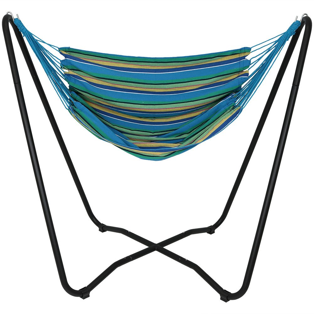 Sunnydaze Hanging Rope Hammock Chair Swing with Space Saving Stand, Ocean Breeze - for Indoor or Outdoor Patio, Yard, Porch, and Bedroom