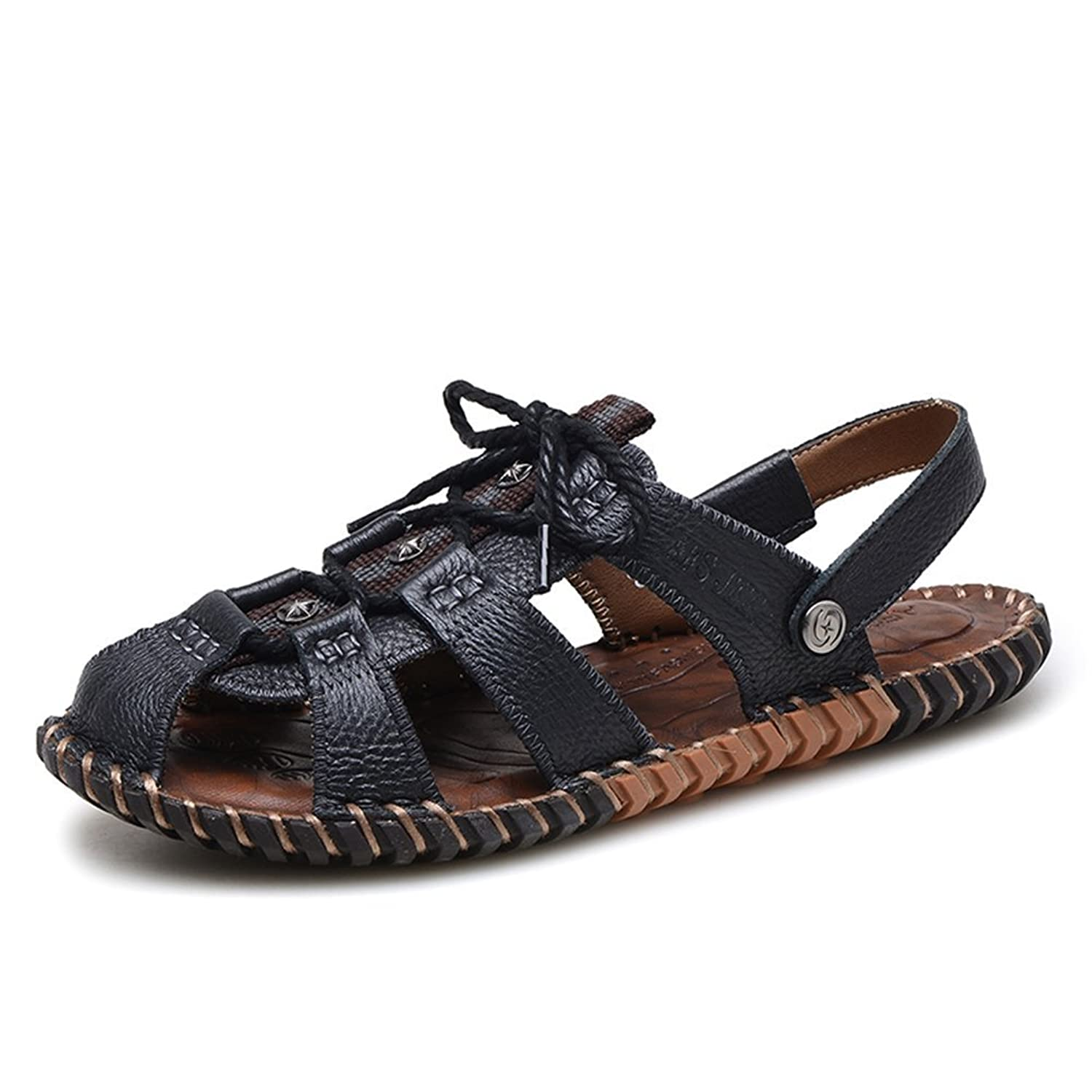 AFS JEEP Men's Summer Casual Outdoor Leather Fisherman Sandals Closed Toe Shoes