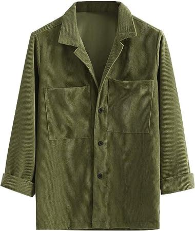 Briskorry Camisa para hombre, de pana corta, de un solo color ...