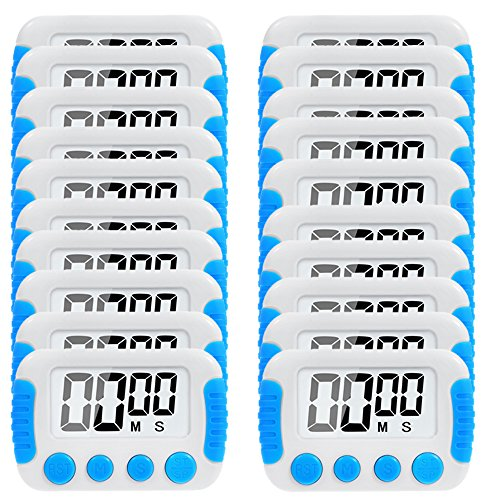 20 Pack Big Screen Digital Kitchen Timer Magnetic Back Minute Second Count Up Countdown