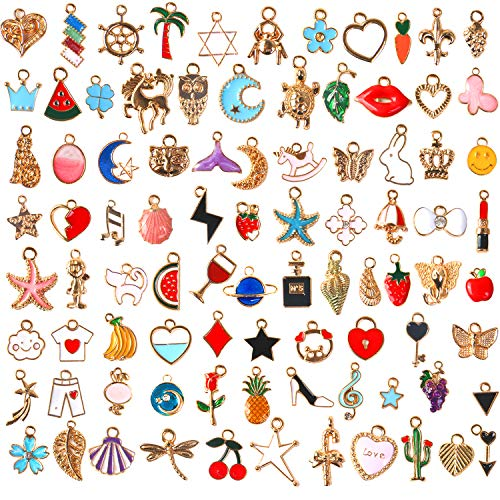 110Pcs Assorted Gold Plated Enamel Pendants Necklace Bracelet Charms for Jewelry Making