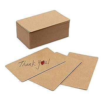 SNOWINSPRING 100 Pcs Blanc Papier Kraft Cartes De Visite Carte Mot Message