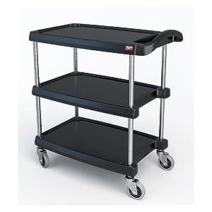 METRO MY1627-34BL myCart Series Black Polymer Utility Cart, 3 Shelf, 35.38 X 31.44 X 18.31-Inch