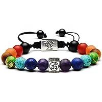 7 Chakra Healing Bracelet | Natural Stones Yoga Beads Balancing Bracelet | Volcanic Lava Buddhist Prayer Mala Necklace | Meditation Gemstone Beads Jewelry | Diffuser Bracelet with Exquisite Packing