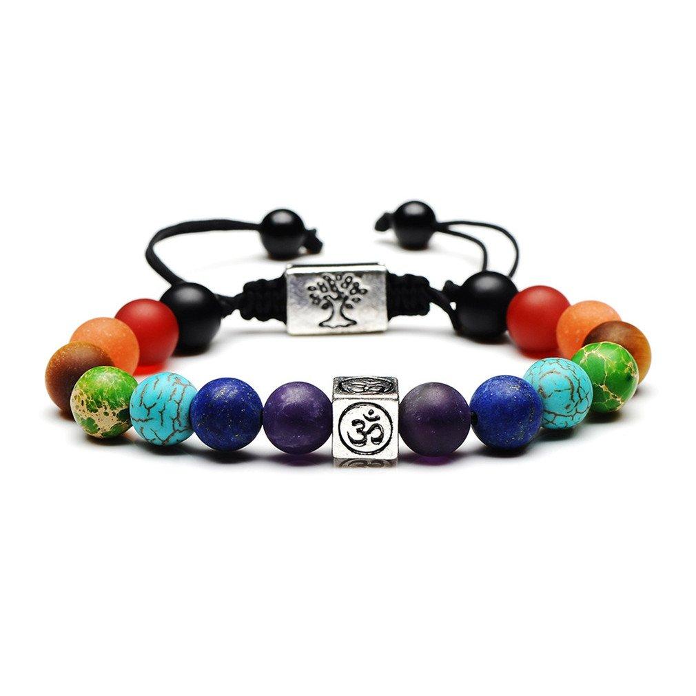 7 Chakra Healing Bracelet | Natural Stones Yoga Beads Balancing Bracelet | Volcanic Lava Buddhist Prayer Mala Necklace | Meditation Gemstone Beads Jewelry | Diffuser Bracelet with Exquisite Packing Caramella Bubble SSSL1585Chakra