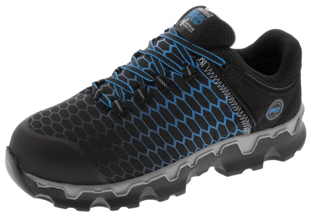 Timberland PRO Men's Powertrain Sport Alloy Toe EH Industrial and Construction Shoe, Black Ripstop Nylon With Blue, 9 M US