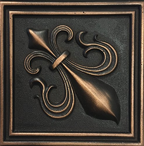 Fleur De Lis 4x4 Victorian Bronze Resin Decorative Insert Accent Piece (Ceramic Tile Inserts)