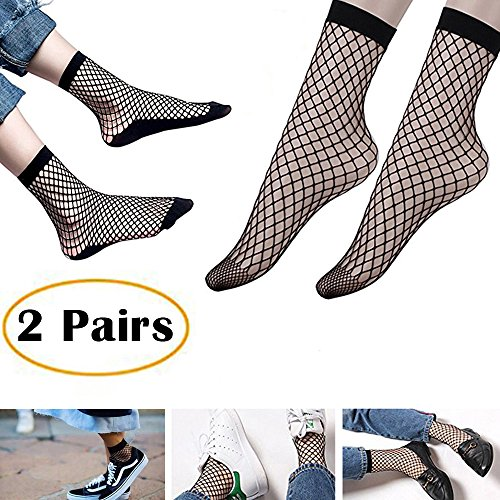 2 Pairs Women's Fishnet Ankle Socks-The Most Fashionable Outfits Skills For Fishnet Socks (Black Ashley In Dress)