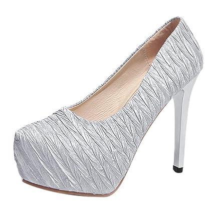 069dc2c3 ZHRUI Mujer Bombas Tobillo Banquete de Boda Zapatos Plataforma Sexy  Extremadamente Cielo Tacones Altos Tacones de