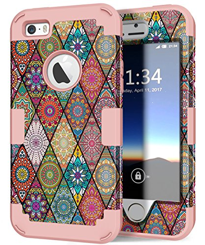 iPhone 5s Case, iPhone SE Case, Hocase Heavy Duty Shockproof Protection Hard Plastic+Silicone Rubber Bumper Dual Layer Full-Body Protective Phone Case for iPhone SE/5s/5 - Mandala/Rose Gold