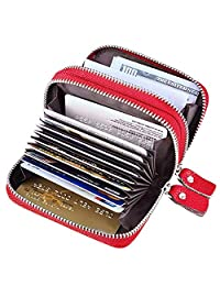 TraderPlus Women's RFID Blocking Leather Zipper Card Wallet Small Purse Credit Card Case Holder for Christmas Gift (Black) (Red)