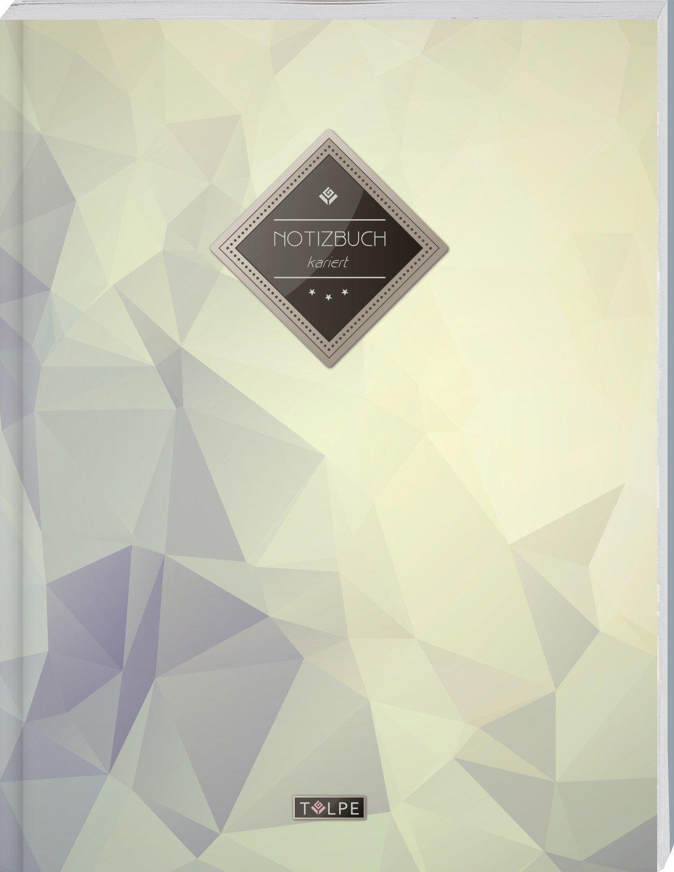 """TULPE Kariertes Notizbuch A4 """"C142 Diamant"""" (140+ Seiten, Vintage Softcover, Doppelrand, Seitenzahlen, Register - Dickes Notizheft, Matheheft, Skizzenbuch, Schulheft, Tagebuch, Kariertes Heft Nr 26)"""
