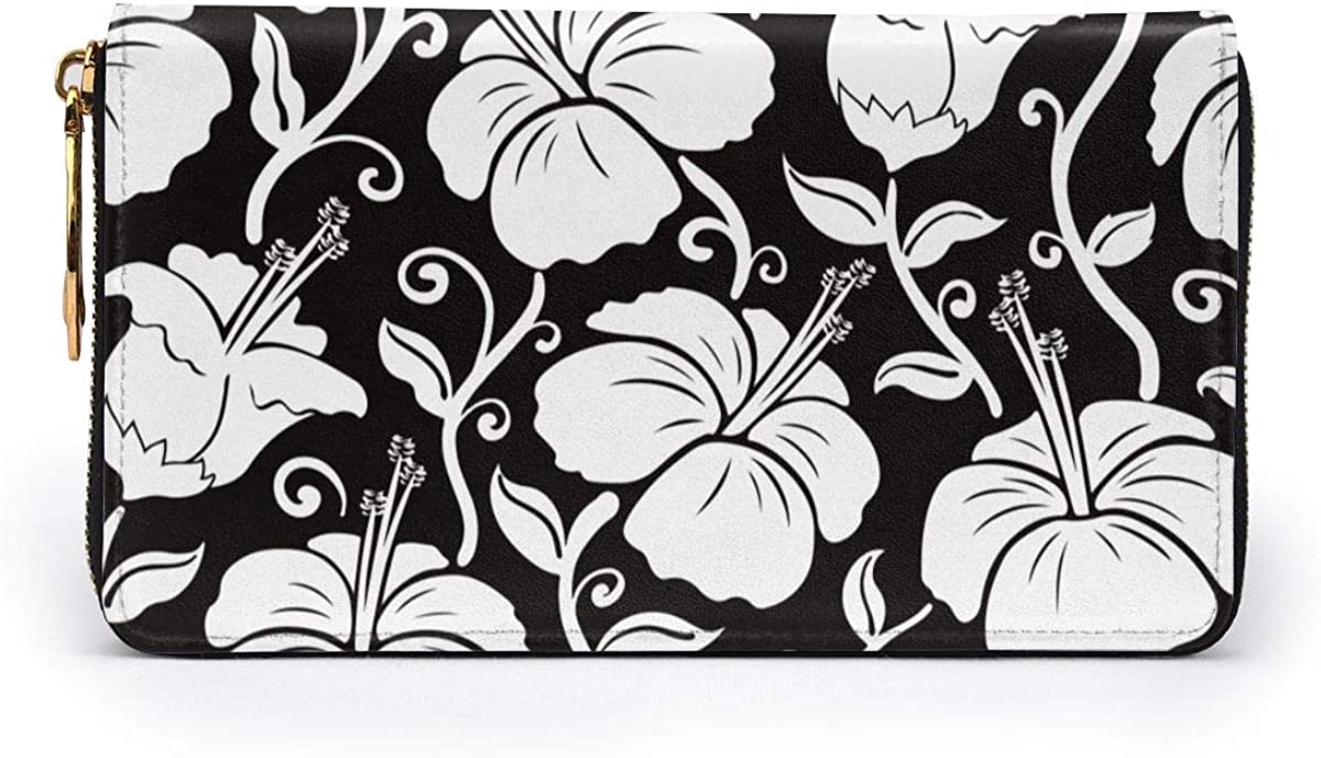 Hawaii Floral Women Leather Long Zipper Wallet Hand Purse