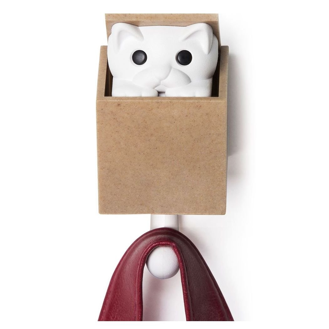 Qualy Kitt-a-Boo Peeping Cat Wall Hook Coathook Hanger Black Brown (Brown)