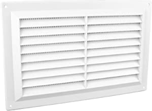 "9"" x 6"" White Plastic Louvre Air Vent Grille with Flyscreen Cover"