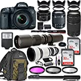Canon EOS 7D Mark II DSLR Camera with 18-55mm Lens Bundle + Canon EF 75-300mm III Lens, Canon 50mm f/1.8, 500mm Lens & 650-1300mm Lens + Canon Backpack + 64GB Memory + Monopod + Professional Bundle