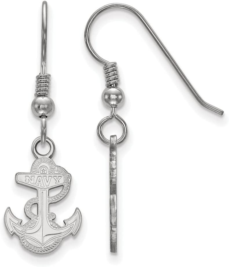 A surprise price is realized Navy Small 1 2 Inch Portland Mall Sterling Earrings Silver Dangle Wire