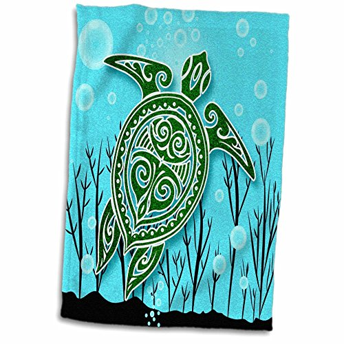 """3D Rose Tropical Green Sea Turtle with Underwater Plants and Bubbles Hand Towel 15"""" x 22"""" Multicolor"""