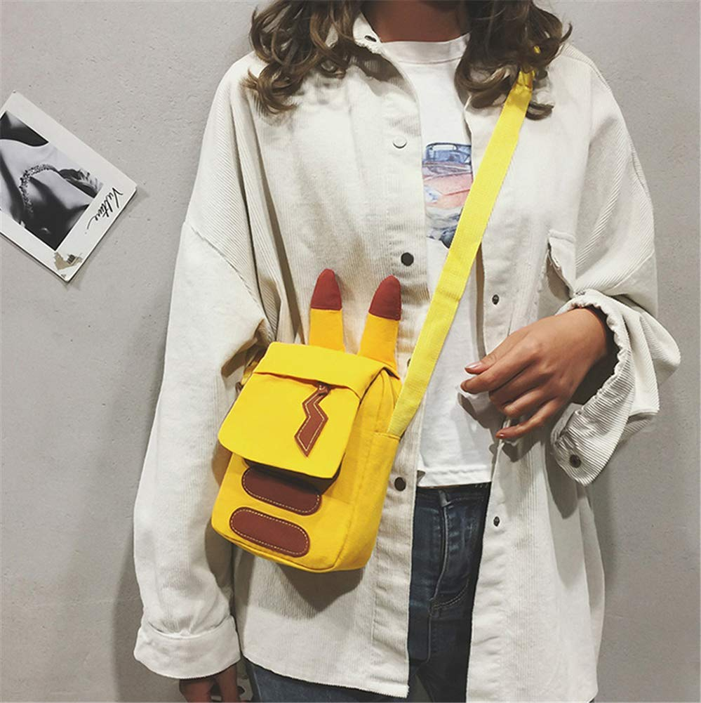 T-MIX Pok/émon Detective Pikachu Bolsas de Lona Bolsas de Hombro Bolsas bandoleras para Chicas y Mujeres Encantadoras