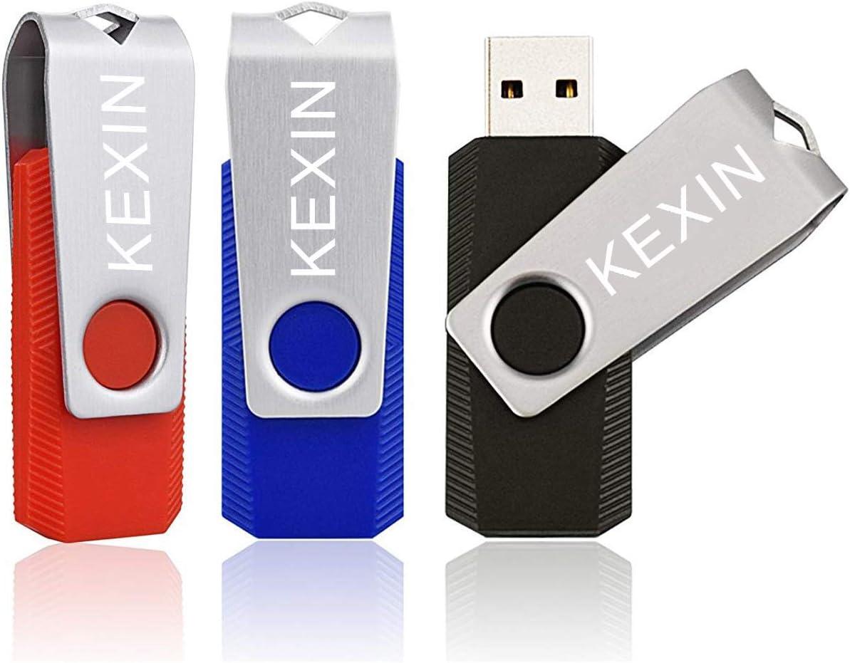 KEXIN 32GB Memoria USB 2.0 Pendrive 32GB Flash Drive Memorias USB 2.0 para Computadoras, Tabletas y Otros Dispositivos [3 Unidades ] Color de Rojo,Azul, Negro: Amazon.es: Informática