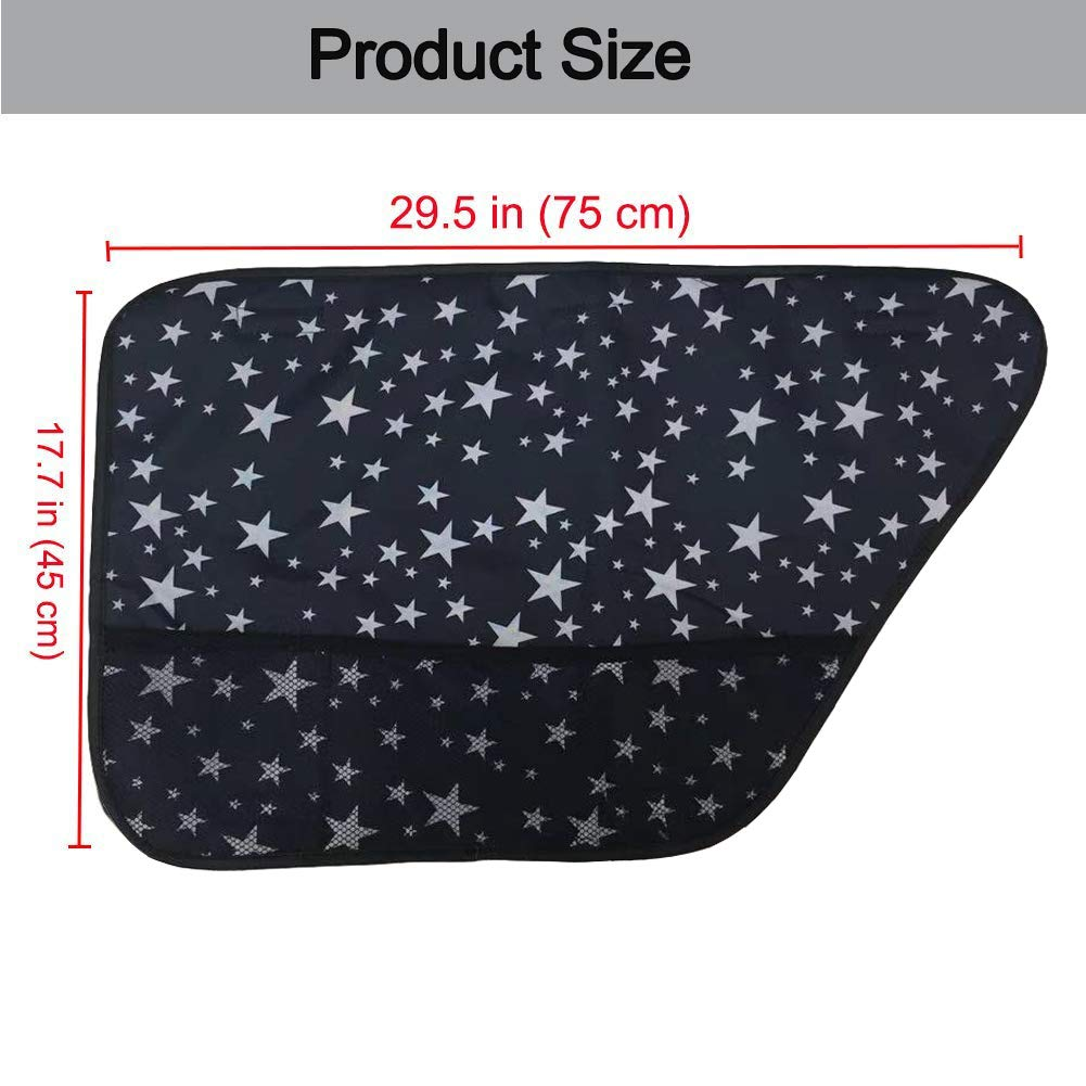 Hippo Pet Car Door Protection Cover,Pet Car Seat Belt as Bonus-Pet Window Cover Anti-Scratch Waterproof Side Cover for Dog with 3 Extra Pockets,Easy Install,2PCS Black