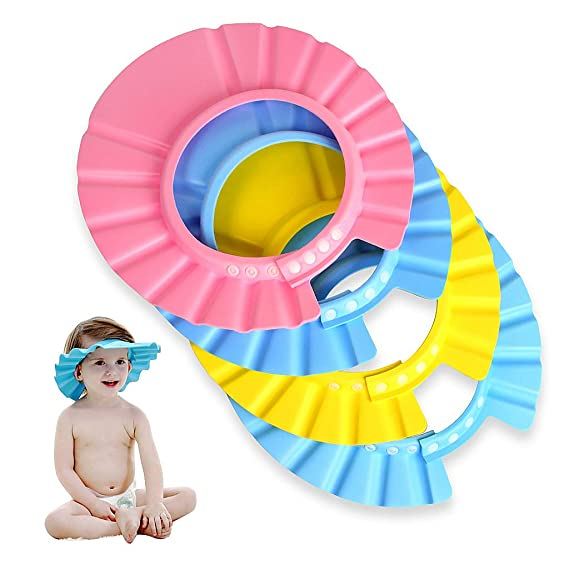 EWIN(R) 4pcs Soft Adjustable Baby Kids Children Shampoo Bath Bathing Shower  Cap Hat 23608de1f551
