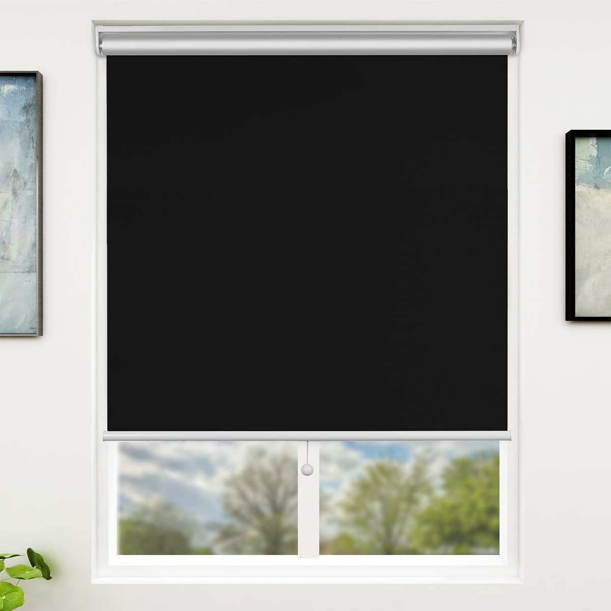 "SUNFREE Blackout Window Shades Cordless Window Blinds for Home Office 27"" x 72"", Black"