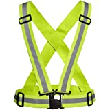 ReflectoSafe High Visibility Protective Safety Reflective Vest Belt Jacket, Night Cycling Reflector Strips Cross Belt Stripes Adjustable Vest - Green