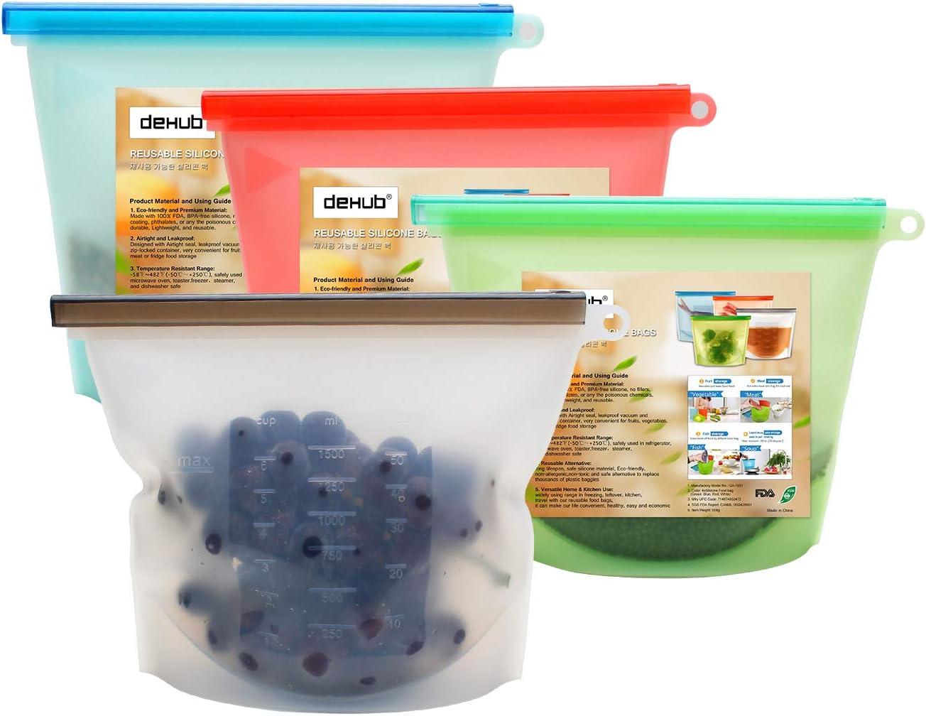 Dehub -Bolsas para alimentos reciclables, resistente a fugas (4 ...
